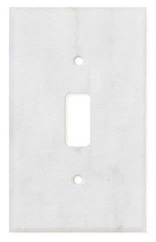 Italian Carrara White Marble Single Toggle Switch Wall Plate / Switch Plate / Cover - Honed