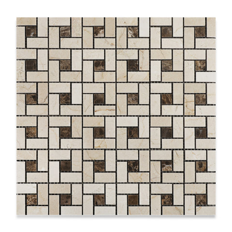 Crema Marfil Marble Polished Pinwheel Mosaic Tile w/ Emperador Dark Dots - American Tile Depot - Commercial and Residential (Interior & Exterior), Indoor, Outdoor, Shower, Backsplash, Bathroom, Kitchen, Deck & Patio, Decorative, Floor, Wall, Ceiling, Powder Room - 1