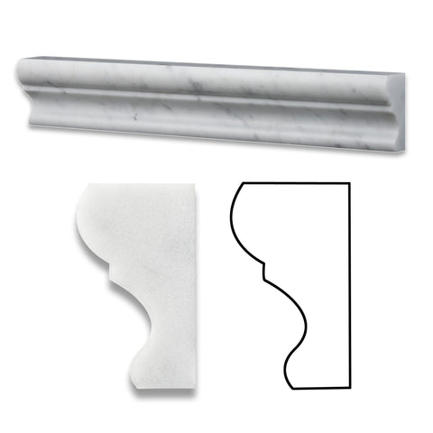 Carrara White Marble Polished Crown - Mercer Molding Trim - American Tile Depot - Commercial and Residential (Interior & Exterior), Indoor, Outdoor, Shower, Backsplash, Bathroom, Kitchen, Deck & Patio, Decorative, Floor, Wall, Ceiling, Powder Room - 1