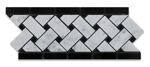 Carrara White Marble Polished Basketweave Border Listello w/ Black Dots - American Tile Depot - Commercial and Residential (Interior & Exterior), Indoor, Outdoor, Shower, Backsplash, Bathroom, Kitchen, Deck & Patio, Decorative, Floor, Wall, Ceiling, Powder Room - 1