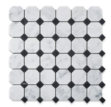Carrara White Marble Honed Octagon Mosaic Tile w/ Black Dots - American Tile Depot - Commercial and Residential (Interior & Exterior), Indoor, Outdoor, Shower, Backsplash, Bathroom, Kitchen, Deck & Patio, Decorative, Floor, Wall, Ceiling, Powder Room - 1