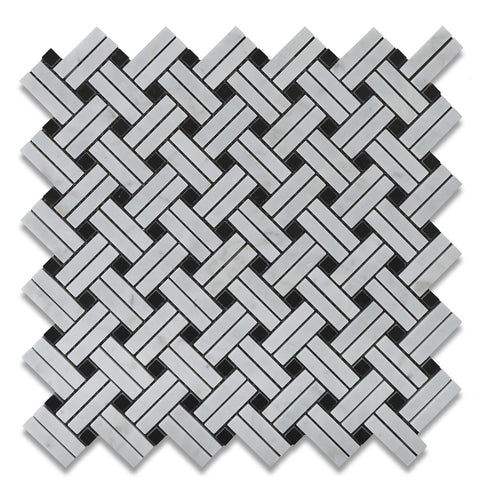 Carrara White Marble Polished Stanza Basketweave Mosaic Tile w/ Black Dots - American Tile Depot - Commercial and Residential (Interior & Exterior), Indoor, Outdoor, Shower, Backsplash, Bathroom, Kitchen, Deck & Patio, Decorative, Floor, Wall, Ceiling, Powder Room - 1