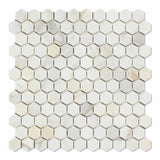 "Calacatta Gold Marble Honed 1"" Mini Hexagon Mosaic Tile - American Tile Depot - Commercial and Residential (Interior & Exterior), Indoor, Outdoor, Shower, Backsplash, Bathroom, Kitchen, Deck & Patio, Decorative, Floor, Wall, Ceiling, Powder Room - 1"