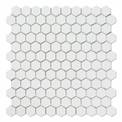 "Thassos White Marble Polished 1"" Mini Hexagon Mosaic Tile - American Tile Depot - Commercial and Residential (Interior & Exterior), Indoor, Outdoor, Shower, Backsplash, Bathroom, Kitchen, Deck & Patio, Decorative, Floor, Wall, Ceiling, Powder Room"