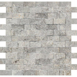 1 X 2 Silver Travertine Split-Faced Mosaic Tile