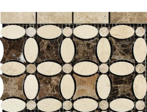 Crema Marfil Marble Polished Florida Flower Border Listello w/ Emperador Dark