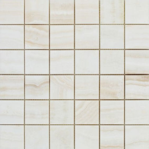 2 X 2 Premium White Onyx VEIN-CUT Polished Mosaic Tile - American Tile Depot - Shower, Backsplash, Bathroom, Kitchen, Deck & Patio, Decorative, Floor, Wall, Ceiling, Powder Room, Indoor, Outdoor, Commercial, Residential, Interior, Exterior