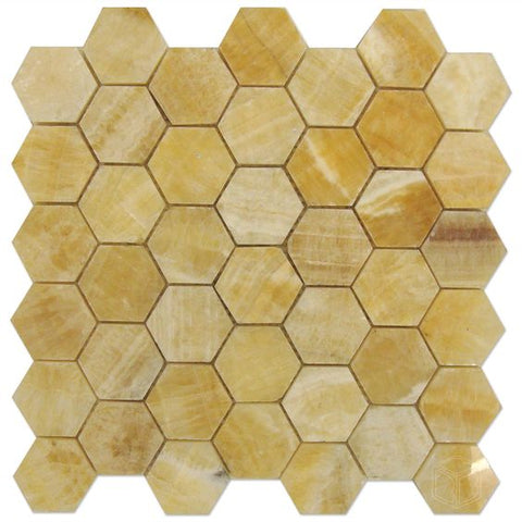 Honey Onyx Polished 2'' Hexagon Mosaic Tile