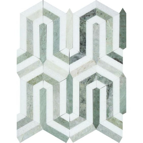 Thassos White Marble Polished Berlinetta Mosaic Tile w / Ming-Green