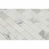 1 X 2 Calacatta Gold Marble Polished Brick Mosaic Tile - American Tile Depot - Shower, Backsplash, Bathroom, Kitchen, Deck & Patio, Decorative, Floor, Wall, Ceiling, Powder Room, Indoor, Outdoor, Commercial, Residential, Interior, Exterior