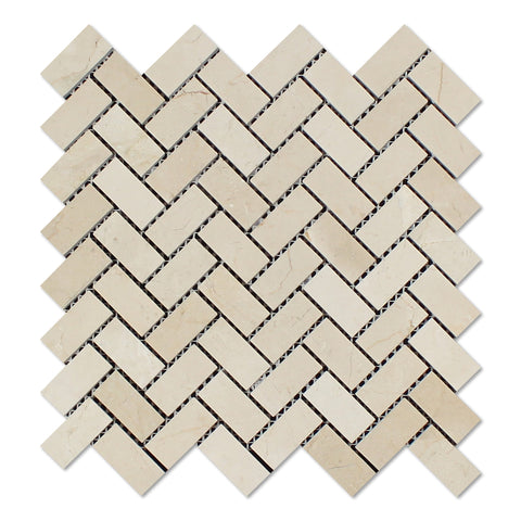 Crema Marfil Marble Honed 1 x 2 Herringbone Mosaic Tile - American Tile Depot - Commercial and Residential (Interior & Exterior), Indoor, Outdoor, Shower, Backsplash, Bathroom, Kitchen, Deck & Patio, Decorative, Floor, Wall, Ceiling, Powder Room - 1