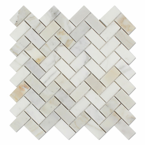 Calacatta Gold Marble Polished 1 x 2 Herringbone Mosaic Tile - American Tile Depot - Commercial and Residential (Interior & Exterior), Indoor, Outdoor, Shower, Backsplash, Bathroom, Kitchen, Deck & Patio, Decorative, Floor, Wall, Ceiling, Powder Room - 1