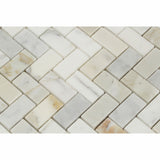 Calacatta Gold Marble Polished 1 x 2 Herringbone Mosaic Tile - American Tile Depot - Commercial and Residential (Interior & Exterior), Indoor, Outdoor, Shower, Backsplash, Bathroom, Kitchen, Deck & Patio, Decorative, Floor, Wall, Ceiling, Powder Room - 2