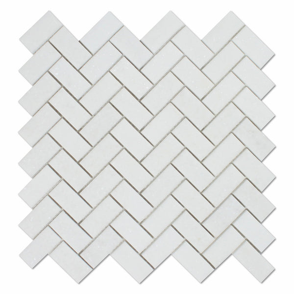 Thassos White Marble 1 X 2 Herringbone Mosaic Tile Polished