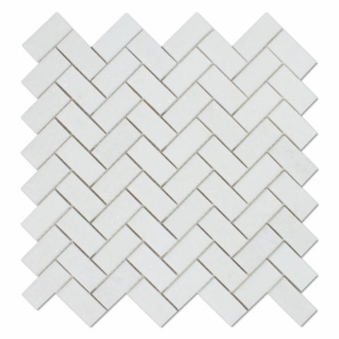 Thassos White Marble Polished 1 x 2 Herringbone Mosaic Tile - American Tile Depot - Commercial and Residential (Interior & Exterior), Indoor, Outdoor, Shower, Backsplash, Bathroom, Kitchen, Deck & Patio, Decorative, Floor, Wall, Ceiling, Powder Room