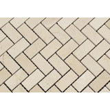 Crema Marfil Marble Honed 1 x 2 Herringbone Mosaic Tile - American Tile Depot - Commercial and Residential (Interior & Exterior), Indoor, Outdoor, Shower, Backsplash, Bathroom, Kitchen, Deck & Patio, Decorative, Floor, Wall, Ceiling, Powder Room - 2