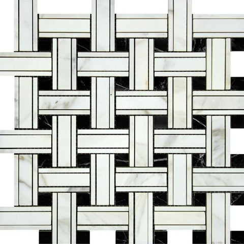 Calacatta Gold Marble Honed Triple Weave Mosaic Tile w / Black Dots