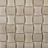 Crema Marfil Marble Honed 3D Small Bread Mosaic Tile - American Tile Depot - Commercial and Residential (Interior & Exterior), Indoor, Outdoor, Shower, Backsplash, Bathroom, Kitchen, Deck & Patio, Decorative, Floor, Wall, Ceiling, Powder Room - 2