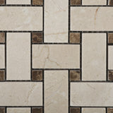 Crema Marfil Marble Polished Basketweave Mosaic Tile w/ Emperador Dark Dots - American Tile Depot - Commercial and Residential (Interior & Exterior), Indoor, Outdoor, Shower, Backsplash, Bathroom, Kitchen, Deck & Patio, Decorative, Floor, Wall, Ceiling, Powder Room - 2