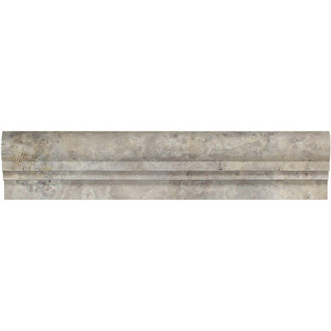 Silver Travertine Honed OG-1 Chair Rail Molding Trim