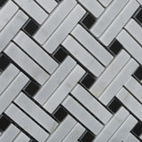 Carrara White Marble Honed Stanza Basketweave Mosaic Tile w/ Black Dots - American Tile Depot - Commercial and Residential (Interior & Exterior), Indoor, Outdoor, Shower, Backsplash, Bathroom, Kitchen, Deck & Patio, Decorative, Floor, Wall, Ceiling, Powder Room - 2