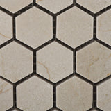 "Crema Marfil Marble Polished 1"" Mini Hexagon Mosaic Tile - American Tile Depot - Commercial and Residential (Interior & Exterior), Indoor, Outdoor, Shower, Backsplash, Bathroom, Kitchen, Deck & Patio, Decorative, Floor, Wall, Ceiling, Powder Room - 2"