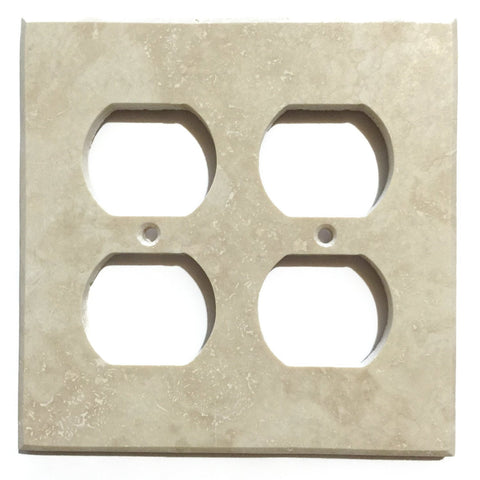 Ivory Travertine Double Duplex Switch Wall Plate / Switch Plate / Cover - Honed - American Tile Depot - Commercial and Residential (Interior & Exterior), Indoor, Outdoor, Shower, Backsplash, Bathroom, Kitchen, Deck & Patio, Decorative, Floor, Wall, Ceiling, Powder Room - 1