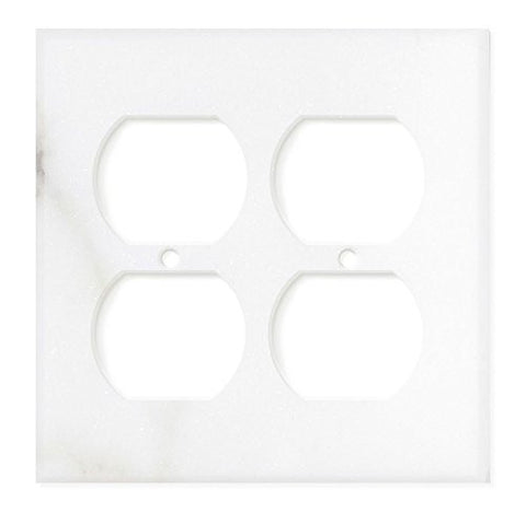 Italian Calacatta Gold Marble Double Duplex Switch Wall Plate / Switch Plate / Cover - Polished - American Tile Depot - Commercial and Residential (Interior & Exterior), Indoor, Outdoor, Shower, Backsplash, Bathroom, Kitchen, Deck & Patio, Decorative, Floor, Wall, Ceiling, Powder Room - 1