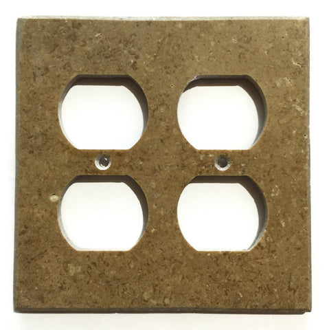 Noce Travertine Double Duplex Switch Wall Plate / Switch Plate / Cover - Honed - American Tile Depot - Commercial and Residential (Interior & Exterior), Indoor, Outdoor, Shower, Backsplash, Bathroom, Kitchen, Deck & Patio, Decorative, Floor, Wall, Ceiling, Powder Room - 1