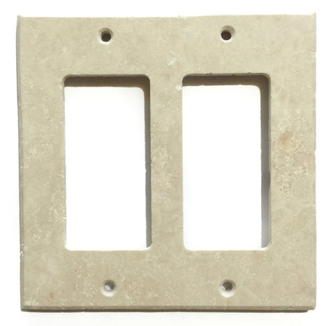 Ivory Travertine Double Rocker Switch Wall Plate / Switch Plate / Cover - Honed - American Tile Depot - Commercial and Residential (Interior & Exterior), Indoor, Outdoor, Shower, Backsplash, Bathroom, Kitchen, Deck & Patio, Decorative, Floor, Wall, Ceiling, Powder Room - 1