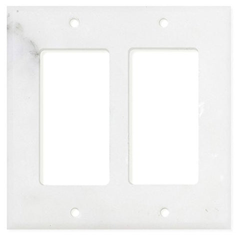 Italian Calacatta Gold Marble Double Rocker Switch Wall Plate / Switch Plate / Cover - Polished - American Tile Depot - Commercial and Residential (Interior & Exterior), Indoor, Outdoor, Shower, Backsplash, Bathroom, Kitchen, Deck & Patio, Decorative, Floor, Wall, Ceiling, Powder Room - 1