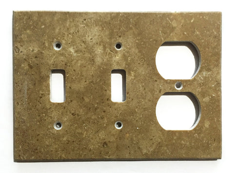 Noce Travertine Double Toggle Duplex Switch Wall Plate / Switch Plate / Cover - Honed - American Tile Depot - Commercial and Residential (Interior & Exterior), Indoor, Outdoor, Shower, Backsplash, Bathroom, Kitchen, Deck & Patio, Decorative, Floor, Wall, Ceiling, Powder Room - 1