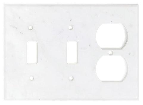 Italian Carrara White Marble Double Toggle Duplex Switch Wall Plate / Switch Plate / Cover - Honed