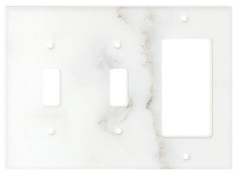 Italian Calacatta Gold Marble Double Toggle Rocker Switch Wall Plate / Switch Plate / Cover - Polished - American Tile Depot - Commercial and Residential (Interior & Exterior), Indoor, Outdoor, Shower, Backsplash, Bathroom, Kitchen, Deck & Patio, Decorative, Floor, Wall, Ceiling, Powder Room - 1