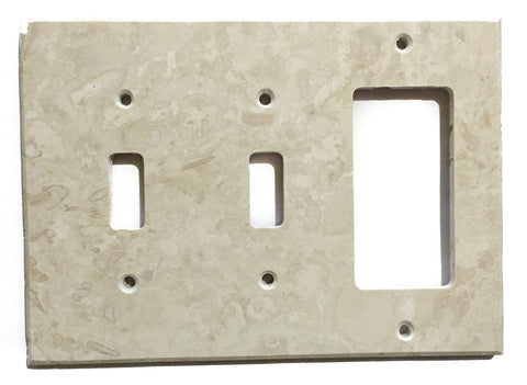 Ivory Travertine Double Toggle Rocker Switch Wall Plate / Switch Plate / Cover - Honed - American Tile Depot - Commercial and Residential (Interior & Exterior), Indoor, Outdoor, Shower, Backsplash, Bathroom, Kitchen, Deck & Patio, Decorative, Floor, Wall, Ceiling, Powder Room - 1