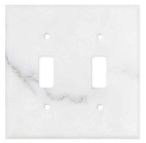 Italian Calacatta Gold Marble Double Toggle Switch Wall Plate / Switch Plate / Cover - Polished - American Tile Depot - Commercial and Residential (Interior & Exterior), Indoor, Outdoor, Shower, Backsplash, Bathroom, Kitchen, Deck & Patio, Decorative, Floor, Wall, Ceiling, Powder Room - 1