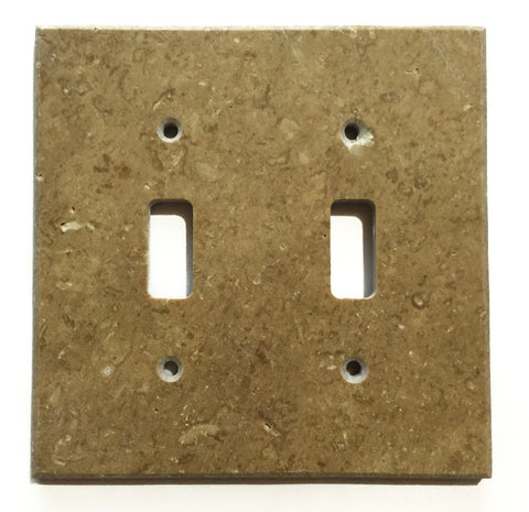 Noce Travertine Double Toggle Switch Wall Plate / Switch Plate / Cover - Honed - American Tile Depot - Commercial and Residential (Interior & Exterior), Indoor, Outdoor, Shower, Backsplash, Bathroom, Kitchen, Deck & Patio, Decorative, Floor, Wall, Ceiling, Powder Room - 1