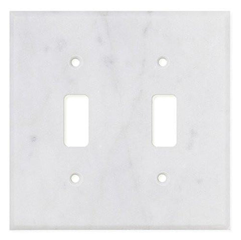 Italian Carrara White Marble Double Toggle Switch Wall Plate / Switch Plate / Cover - Polished