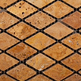 "Gold / Yellow Travertine 1"" Diamond Tumbled Mosaic Tile - American Tile Depot - Commercial and Residential (Interior & Exterior), Indoor, Outdoor, Shower, Backsplash, Bathroom, Kitchen, Deck & Patio, Decorative, Floor, Wall, Ceiling, Powder Room - 2"