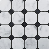 Carrara White Marble Honed Octagon Mosaic Tile w/ Black Dots - American Tile Depot - Commercial and Residential (Interior & Exterior), Indoor, Outdoor, Shower, Backsplash, Bathroom, Kitchen, Deck & Patio, Decorative, Floor, Wall, Ceiling, Powder Room - 2