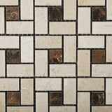 Crema Marfil Marble Polished Pinwheel Mosaic Tile w/ Emperador Dark Dots - American Tile Depot - Commercial and Residential (Interior & Exterior), Indoor, Outdoor, Shower, Backsplash, Bathroom, Kitchen, Deck & Patio, Decorative, Floor, Wall, Ceiling, Powder Room - 2