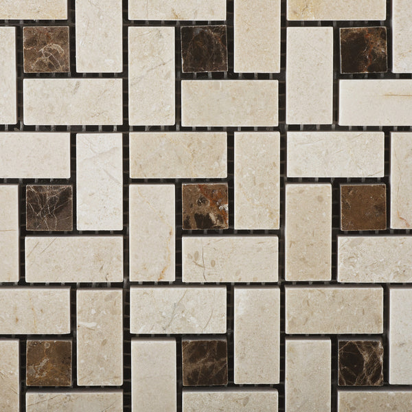 Single Piece Natural Stone Effect Travertine Wall Tile L: Crema Marfil Marble Pinwheel Mosaic Tile Polished