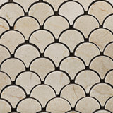 Crema Marfil Marble Polished Fan Mosaic Tile - American Tile Depot - Commercial and Residential (Interior & Exterior), Indoor, Outdoor, Shower, Backsplash, Bathroom, Kitchen, Deck & Patio, Decorative, Floor, Wall, Ceiling, Powder Room - 2