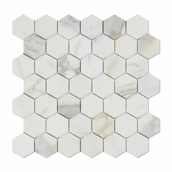 Calacatta Gold Marble 2 Quot Hexagon Mosaic Tile Polished