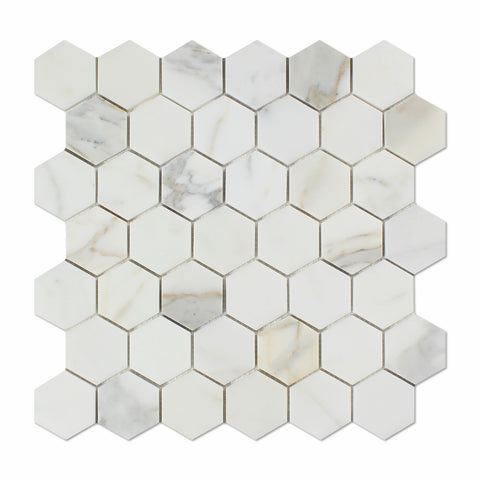 "Calacatta Gold Marble Polished 2"" Hexagon Mosaic Tile - American Tile Depot - Commercial and Residential (Interior & Exterior), Indoor, Outdoor, Shower, Backsplash, Bathroom, Kitchen, Deck & Patio, Decorative, Floor, Wall, Ceiling, Powder Room - 1"
