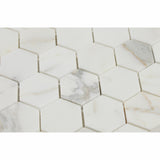 "Calacatta Gold Marble Polished 2"" Hexagon Mosaic Tile - American Tile Depot - Commercial and Residential (Interior & Exterior), Indoor, Outdoor, Shower, Backsplash, Bathroom, Kitchen, Deck & Patio, Decorative, Floor, Wall, Ceiling, Powder Room - 2"