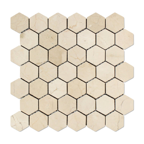 "Crema Marfil Marble Tumbled 2"" Hexagon Mosaic Tile - American Tile Depot - Commercial and Residential (Interior & Exterior), Indoor, Outdoor, Shower, Backsplash, Bathroom, Kitchen, Deck & Patio, Decorative, Floor, Wall, Ceiling, Powder Room - 1"