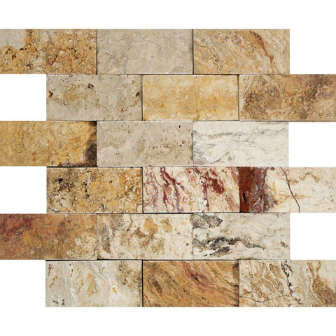 2 X 4 Valencia Travertine Split-Faced Brick Mosaic Tile