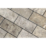 2 X 4 Silver Travertine Tumbled Mosaic Tile