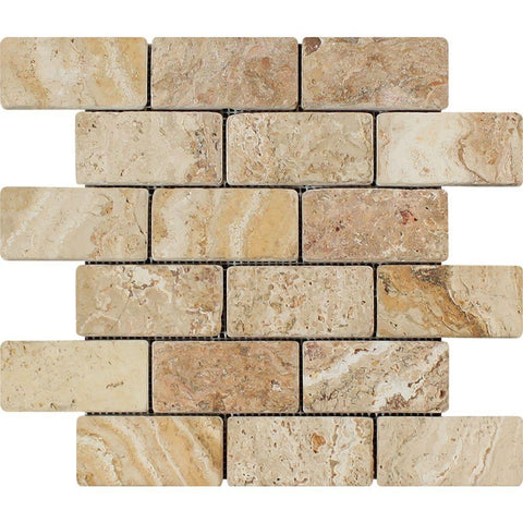 2 X 4 Valencia Travertine Tumbled Mosaic Tile